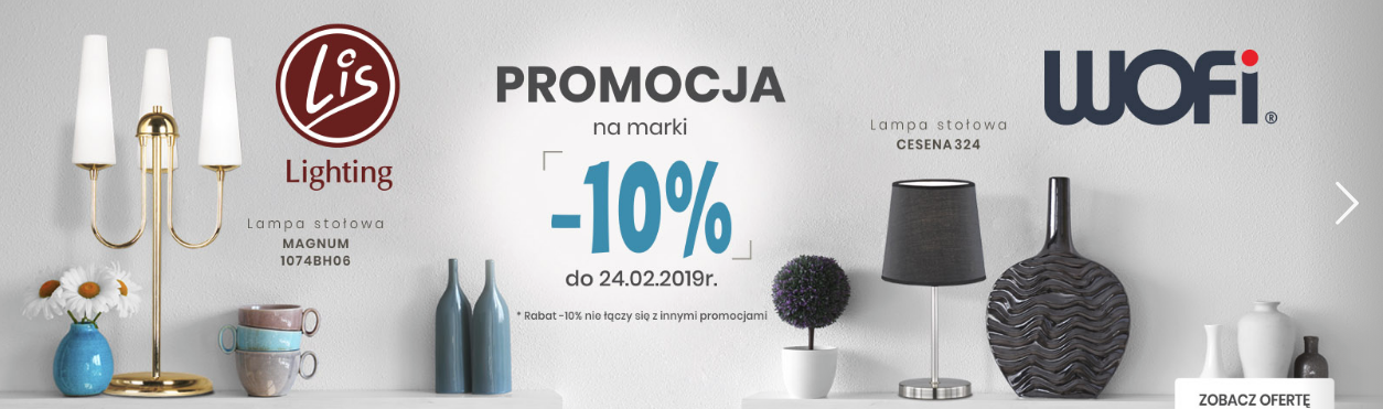 Elampy.pl: 10% rabatu na oświetlenie marki Wofi i Lis Lighting                         title=