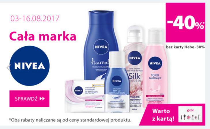 Hebe: do 40% rabatu na całą markę kosmetyków Nivea                         title=