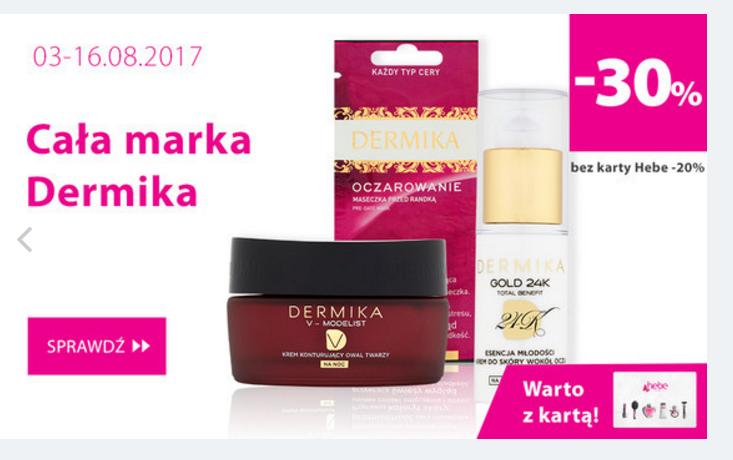 Hebe: do 40% zniżki na całą markę kosmetyków Dermika                         title=