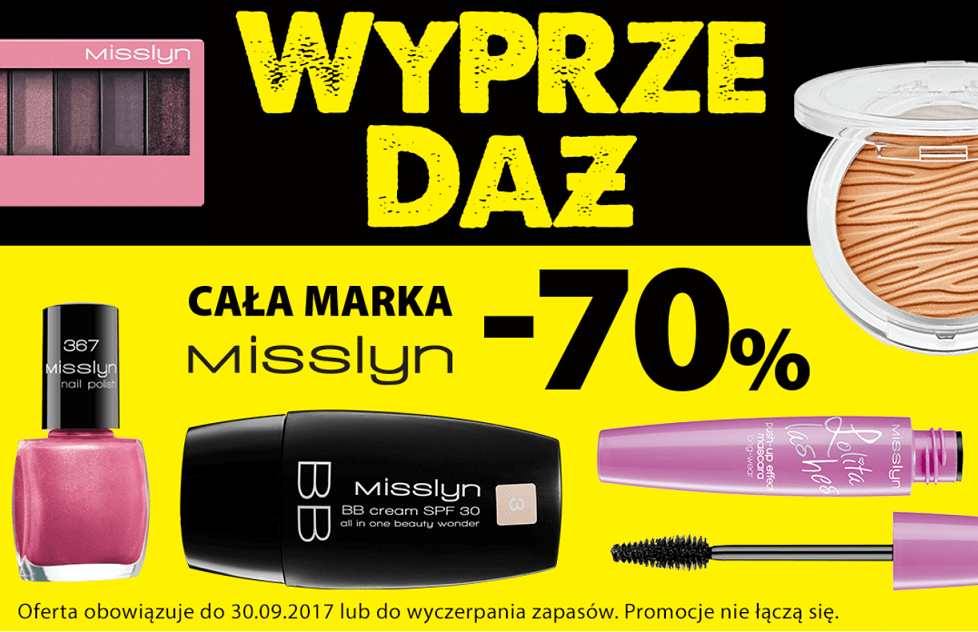 Hebe: wyprzedaż 70% zniżki na całą markę kosmetyków Misslyn                         title=