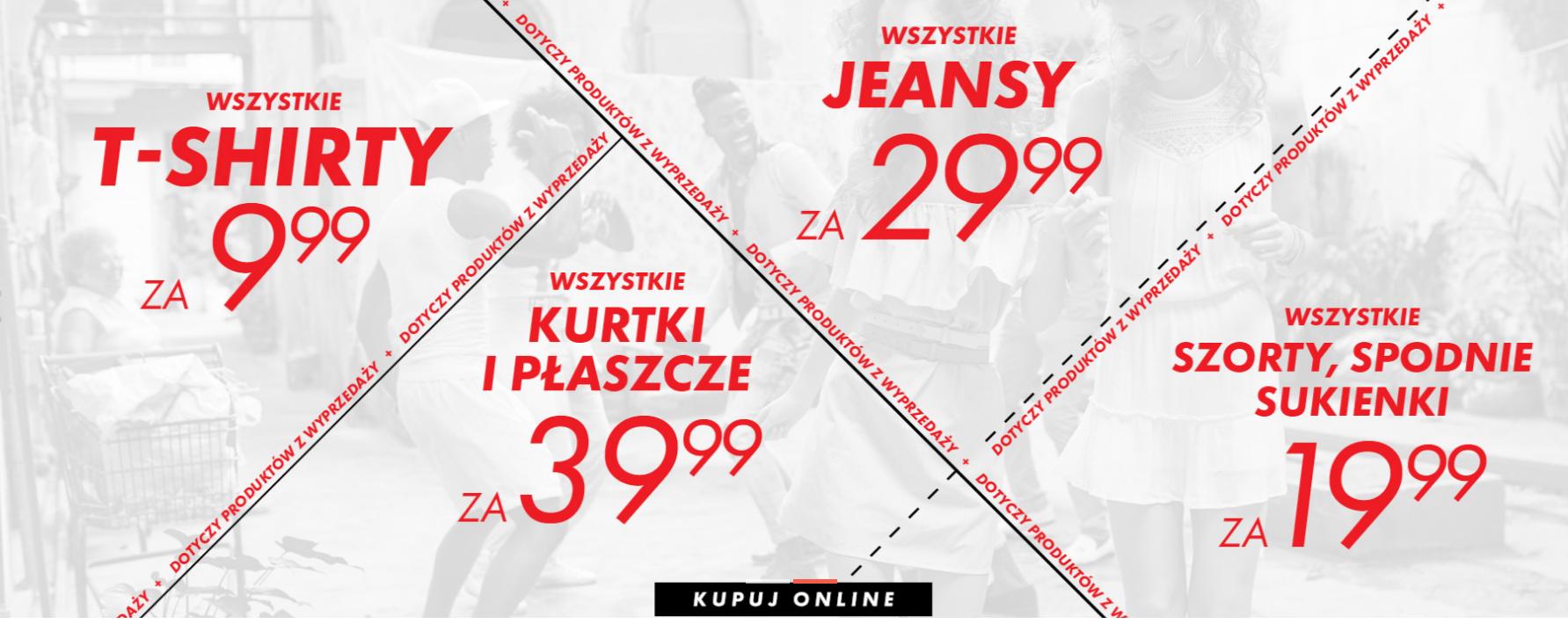 Sinsay:  shirty za 9,99 zł,  szorty, spodnie, sukienki za 19,99 zł, jeansy za 29,99 zł i  kurtki za 39,99 zł                         title=