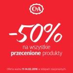 C&A: 50% zniżki na wszystkie przecenione produkty