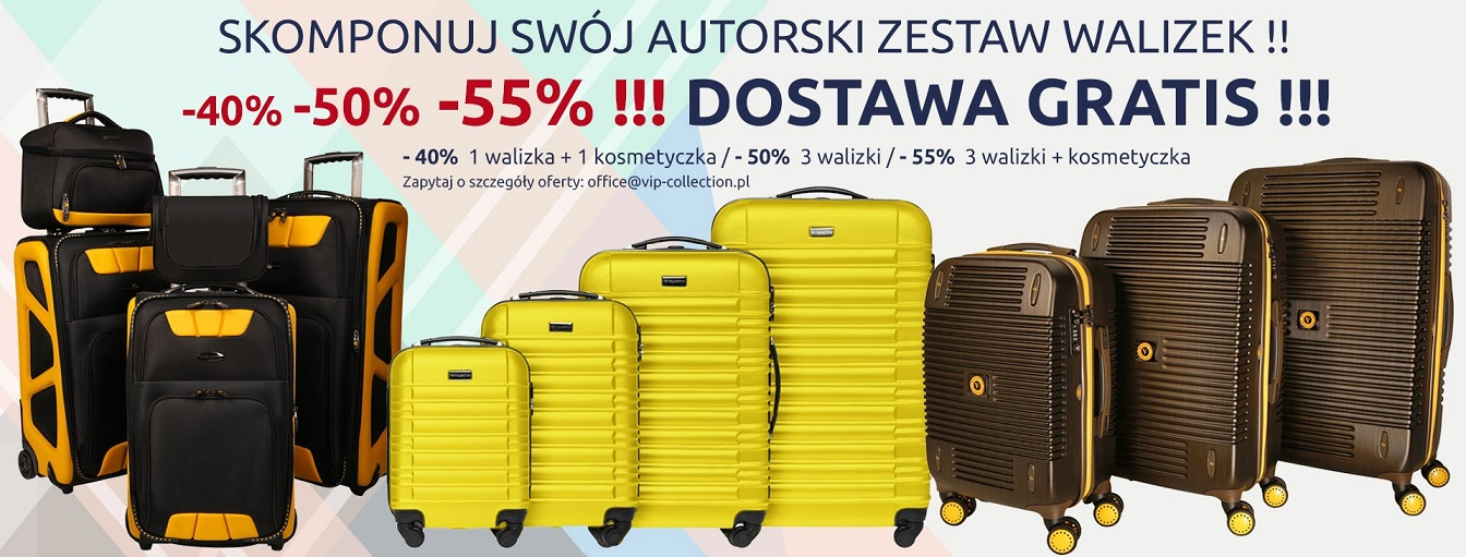 bc7771c24830a Vip Collection: do 55% zniżki na komplet walizek